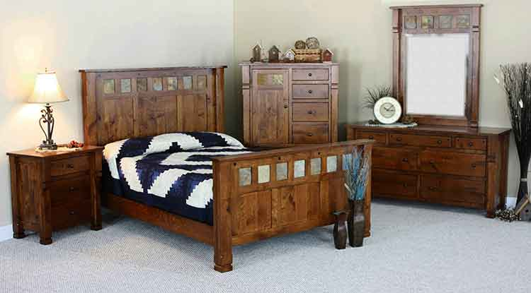 amish made beds in rustic white oak